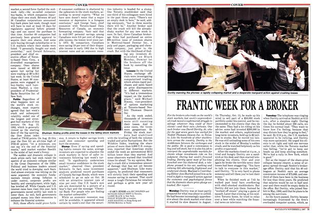 Article Preview: FRANTIC WEEK FOR A BROKER, November 1987   Maclean's