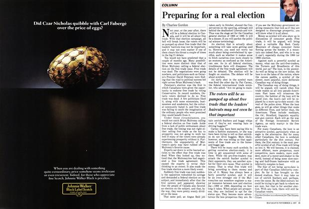 Article Preview: Preparing for a real election, November 1987 | Maclean's