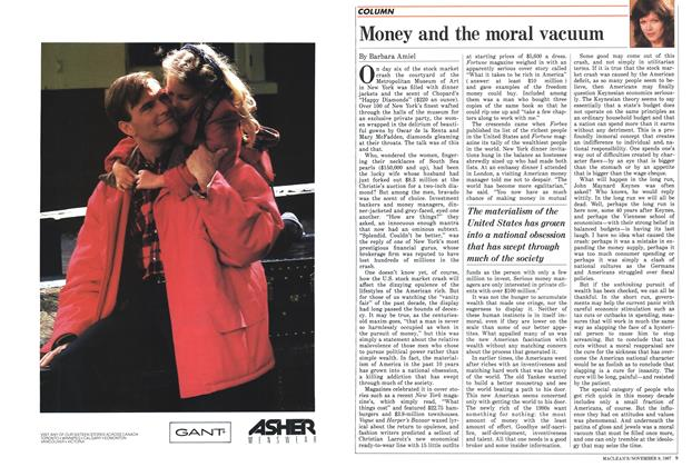 Article Preview: Money and the moral vacuum, November 1987 | Maclean's