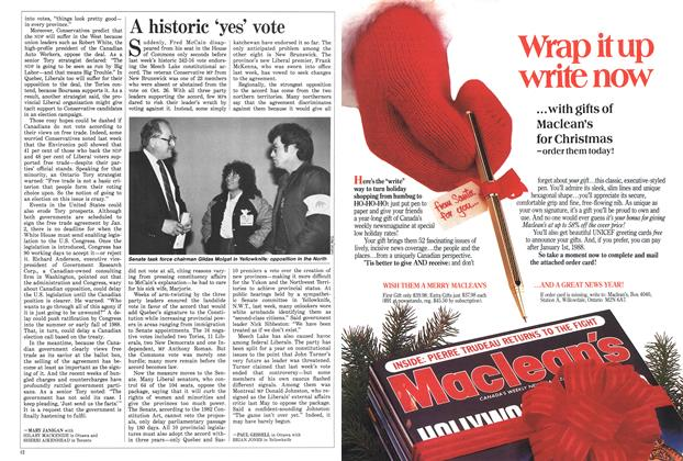 Article Preview: A historic 'yes' vote, November 1987 | Maclean's