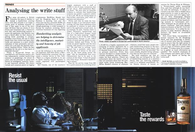 Article Preview: Analysing the write stuff, November 1987 | Maclean's