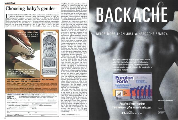 Article Preview: Choosing baby's gender, November 1987 | Maclean's
