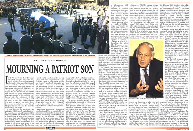 Article Preview: MOURNING A PATRIOT SON, November 1987 | Maclean's