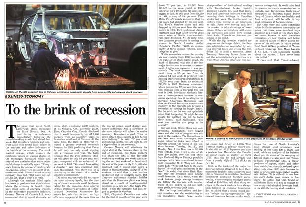 Article Preview: To the brink of recession, November 1987 | Maclean's