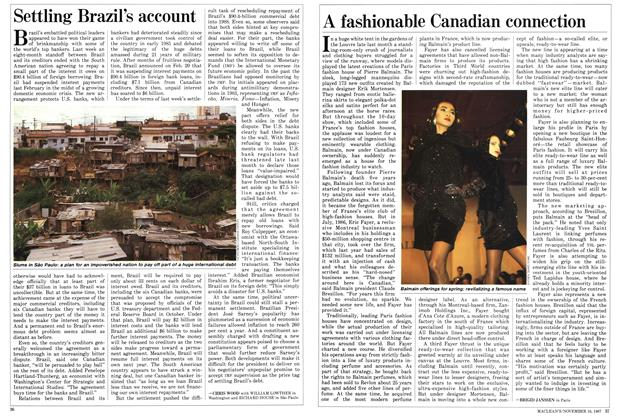 Article Preview: A fashionable Canadian connection, November 1987 | Maclean's