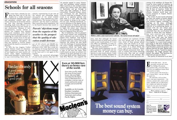 Article Preview: Schools for all seasons, November 1987   Maclean's