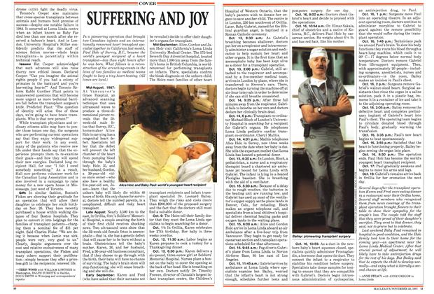 Article Preview: SUFFERING AND JOY, November 1987 | Maclean's