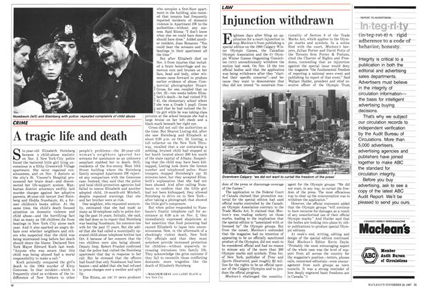 Article Preview: A tragic life and death, November 1987 | Maclean's