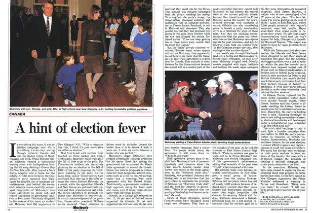 Article Preview: A hint of election fever, November 1987 | Maclean's