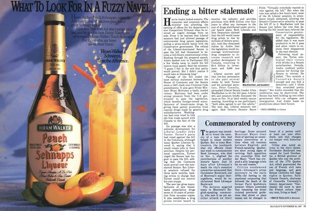 Article Preview: Commemorated by controversy, November 1987 | Maclean's