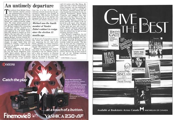 Article Preview: An untimely departure, November 1987 | Maclean's