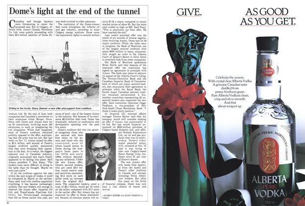 Article Preview: Dome's light at the end of the tunnel, November 1987 | Maclean's