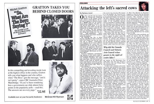 Article Preview: Attacking the left's sacred cows, December 1987 | Maclean's