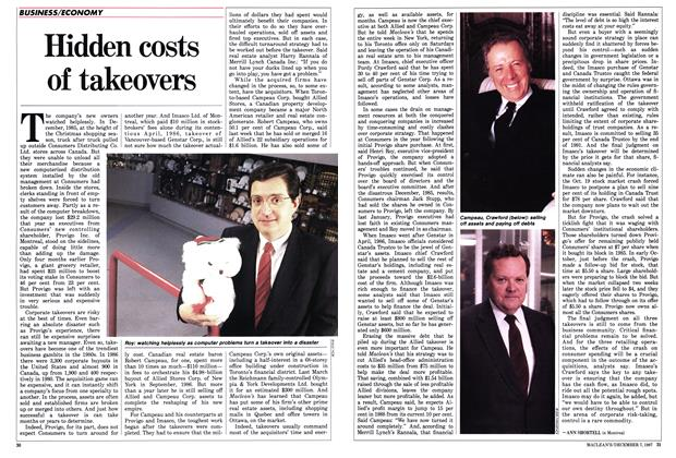 Article Preview: Hidden costs of takeovers, December 1987 | Maclean's