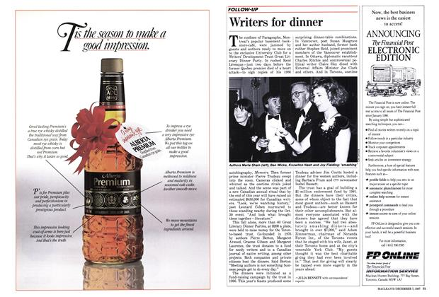 Article Preview: Writers for dinner, December 1987 | Maclean's