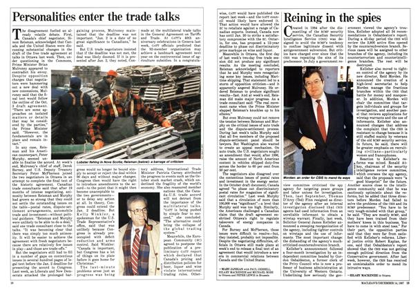 Article Preview: Personalities enter the trade talks, December 1987 | Maclean's