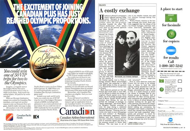 Article Preview: A costly exchange, December 1987 | Maclean's