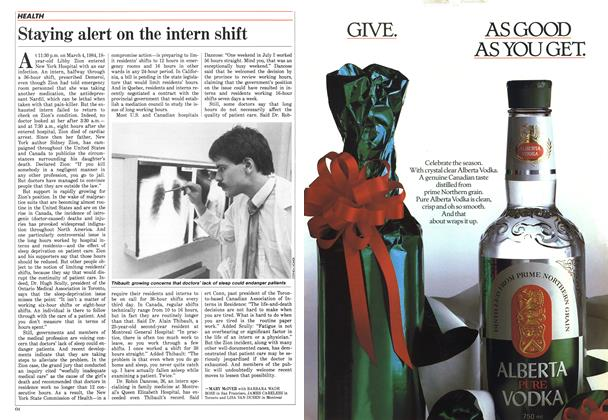 Article Preview: Staying alert on the intern shift, December 1987 | Maclean's