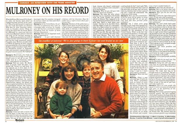 Article Preview: MULRONEY ON HIS RECORD, December 1987 | Maclean's