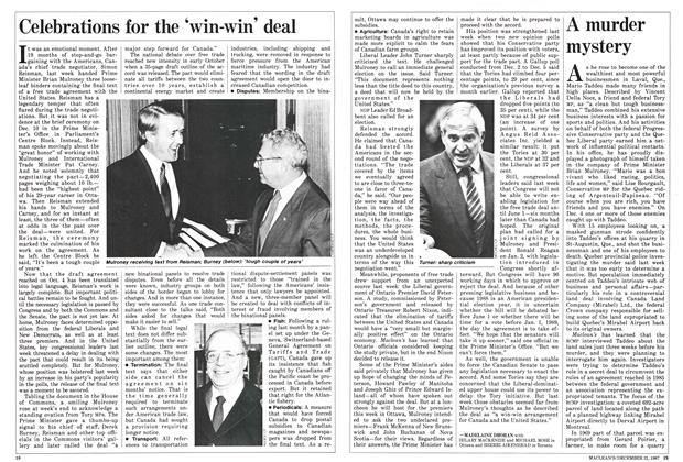 Article Preview: Celebrations for the 'win-win' deal, December 1987 | Maclean's