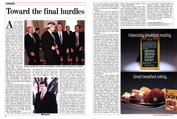 Article Preview: Toward the final hurdles, December 1987 | Maclean's