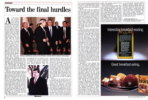 Article Preview: Toward the final hurdles, December 1987 | Maclean's