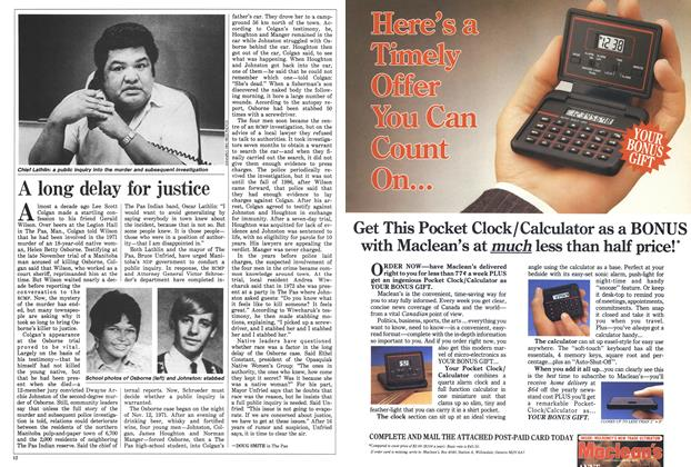 Article Preview: A long delay for justice, January 1988 | Maclean's