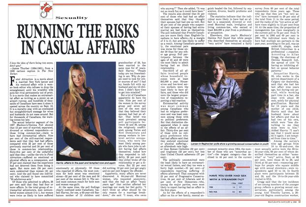 Article Preview: RUNNING THE RISKS IN CASUAL AFFAIRS, January 1988 | Maclean's