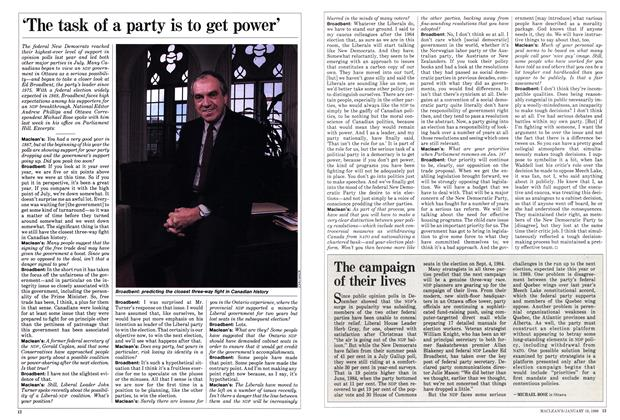 Article Preview: 'The task of a party is to get power', January 1988 | Maclean's