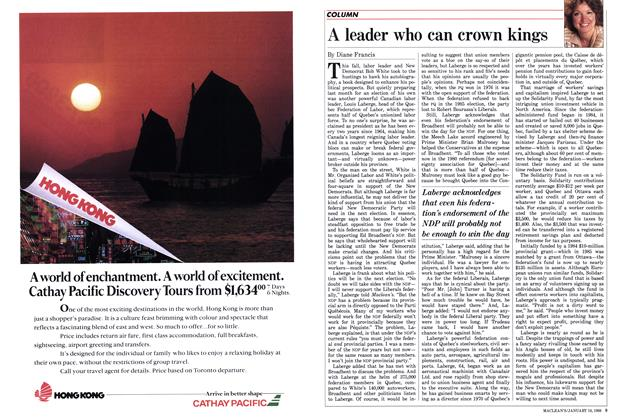 Article Preview: A leader who can crown kings, January 1988 | Maclean's