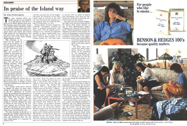 Article Preview: In praise of the Island way, January 1988 | Maclean's