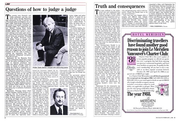Article Preview: Questions of how to judge a judge, February 1988 | Maclean's