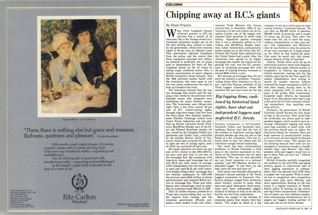 Article Preview: Chipping away at B.C.'s giants, February 1988 | Maclean's
