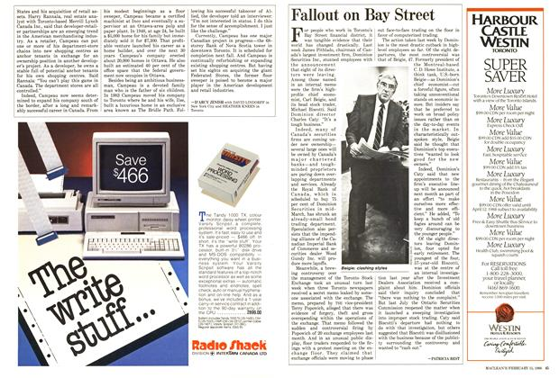 Article Preview: Fallout on Bay Street, February 1988 | Maclean's