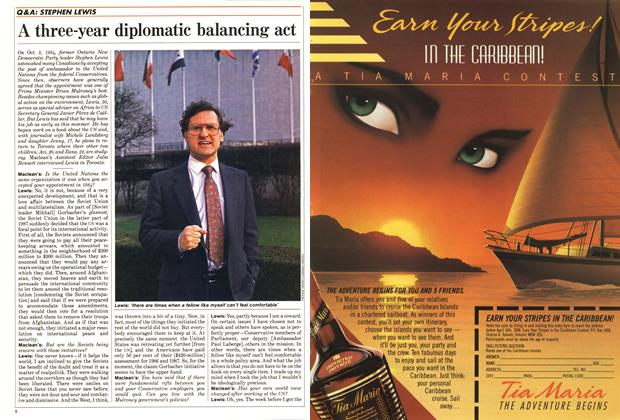 Article Preview: A three-year diplomatic balancing act, February 1988 | Maclean's