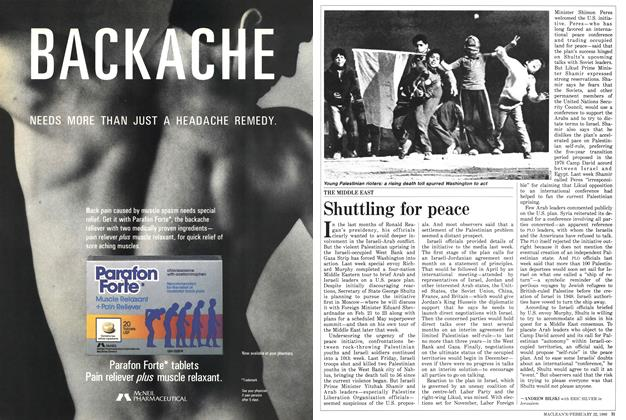 Article Preview: Shuttling for peace, February 1988 | Maclean's