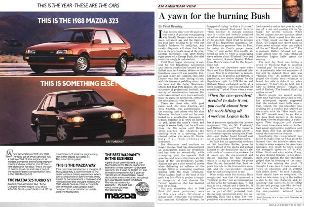 Article Preview: A yawn for the burning Bush, February 1988 | Maclean's