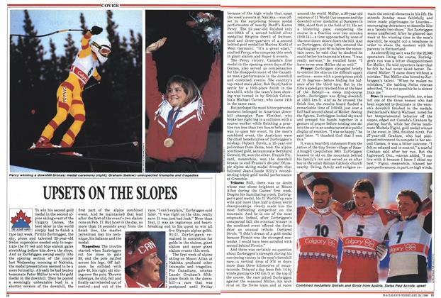 Article Preview: UPSETS ON THE SLOPES, February 1988 | Maclean's