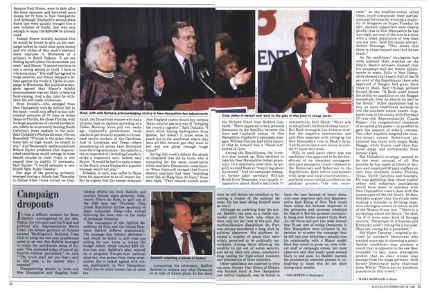 Article Preview: Campaign dropouts, February 1988 | Maclean's
