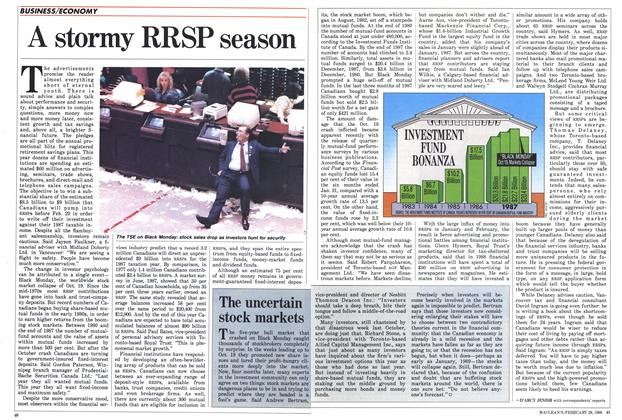 Article Preview: A stormy RRSP season, February 1988 | Maclean's