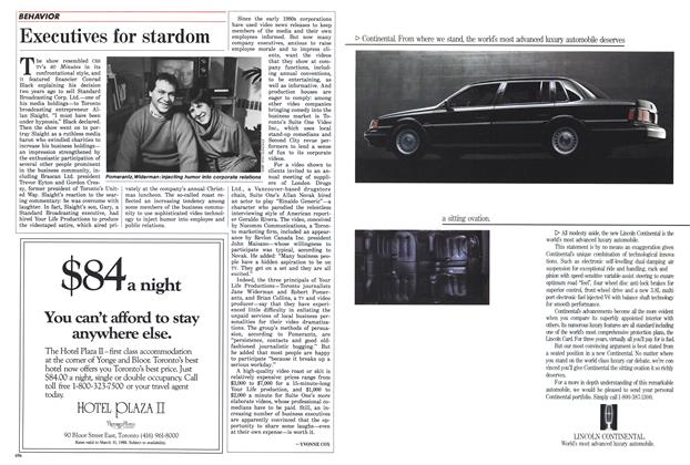 Article Preview: Executives for stardom, February 1988 | Maclean's