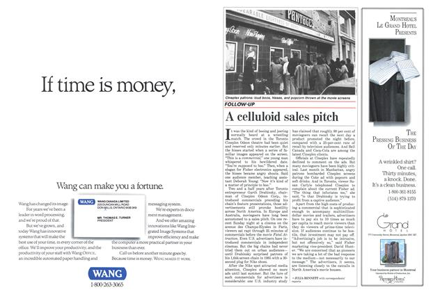 Article Preview: A celluloid sales pitch, February 1988   Maclean's