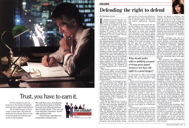 Article Preview: Defending the right to defend, March 1988   Maclean's
