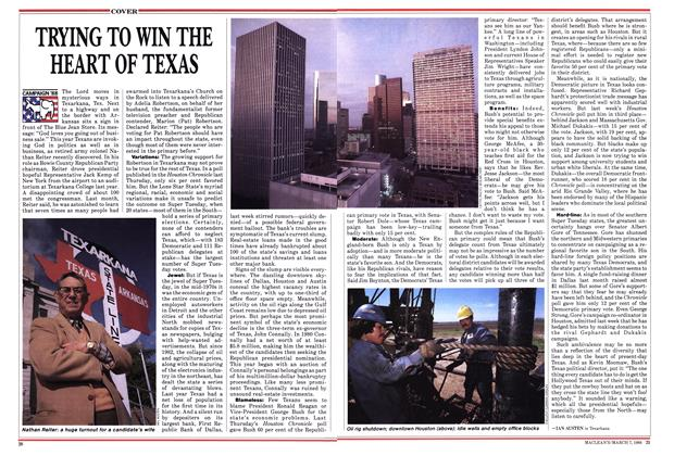 Article Preview: TRYING TO WIN THE HEART OF TEXAS, March 1988 | Maclean's