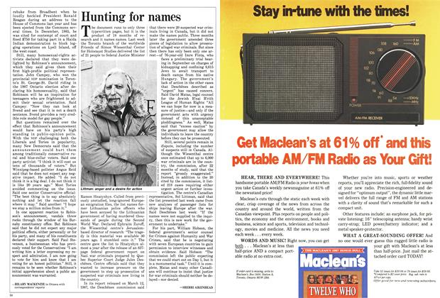 Article Preview: Hunting for names, March 1988 | Maclean's