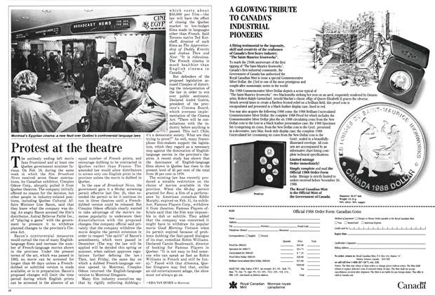 Article Preview: Protest at the theatre, March 1988 | Maclean's