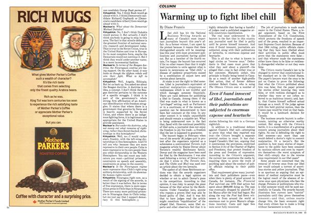 Article Preview: Warming up to fight libel chill, March 1988 | Maclean's