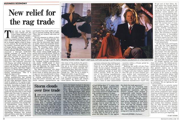 Article Preview: New relief for the rag trade, April 1988 | Maclean's