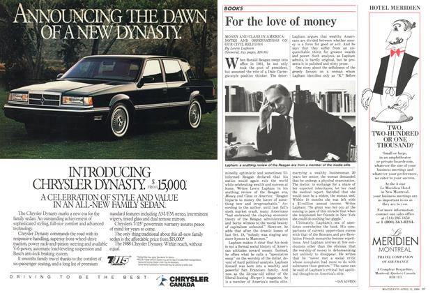 Article Preview: For the love of money, April 1988 | Maclean's