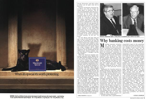 Article Preview: Why banking costs money, April 1988 | Maclean's